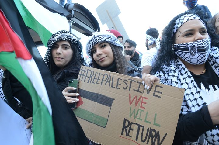 Americans protest Israeli policies at a pro-Palestinian rally in Chicago on Thursday, May 13. Democratic Party shifts reflect