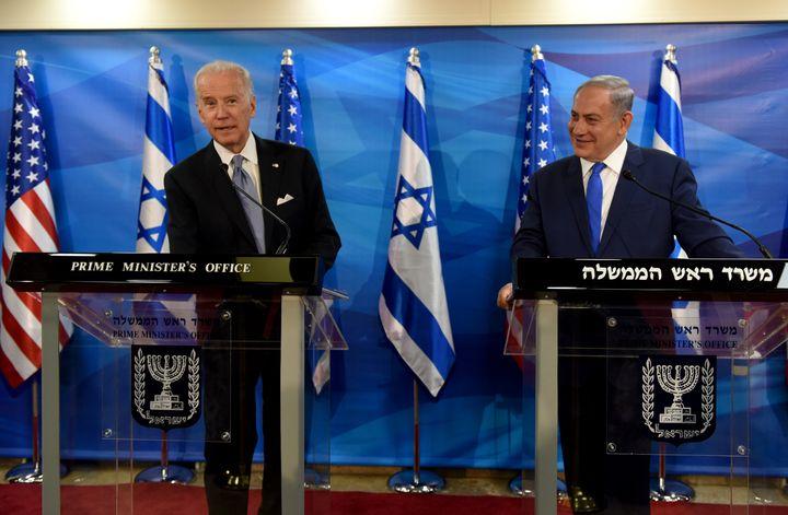 Then-Vice President Joe Biden, left, appears alongside Israeli Prime Minister Benjamin Netanyahu in March 2016. As president,