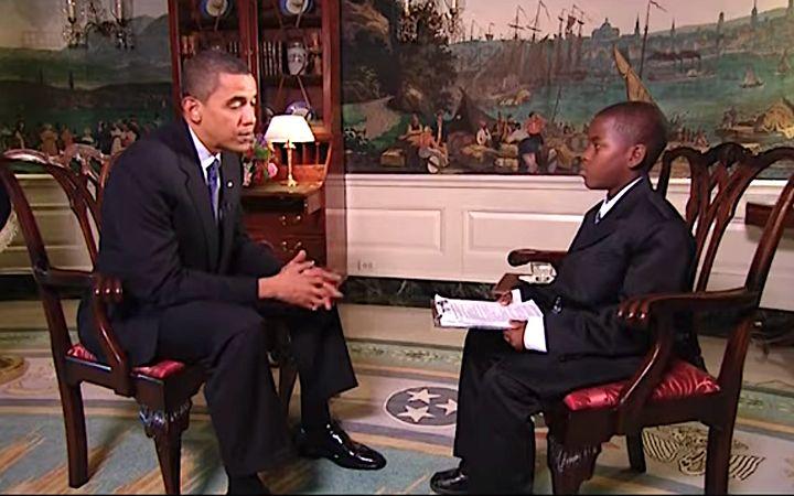 Damon Weaver, 11, quizzes President Obama in 2009.