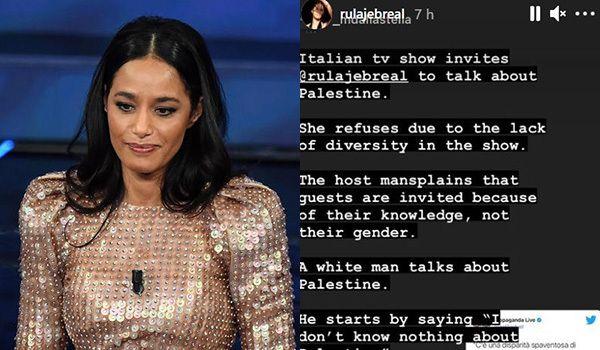 Rula Jebrael condivide post nelle stories per commentare la puntata di Propoganda Live
