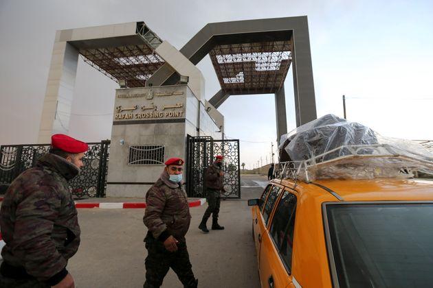 (photo prise le 23 février 2021 au point de contrôle à la frontière entre la Bande de Gaza et