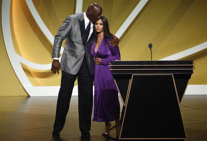 Vanessa Bryant is greeted by presenter Michael Jordan after speaking on behalf of Class of 2020 inductee, Kobe Bryant during