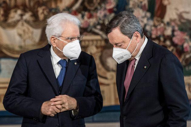 ROME, ITALY - FEBRUARY 13: Italian President Sergio Mattarella (L) and Italian Prime Minister Mario Draghi...
