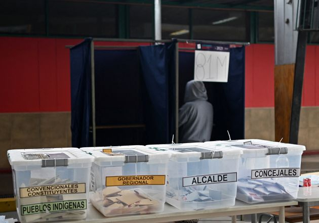 View of ballot boxes during elections to choose mayors, councillors and a commission to rewrite the constitution...