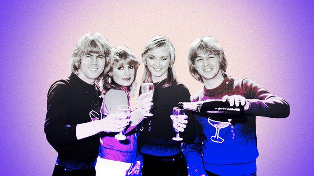 Former Eurovision winners Bucks Fizz celebrating their 1981 win