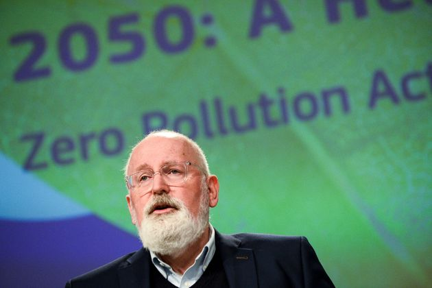 European Commission Executive Vice-President for the European Green Deal, Frans Timmermans speaks during...