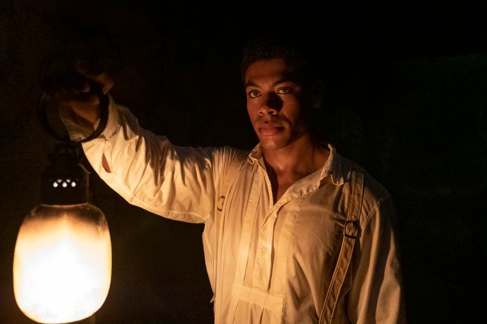 """Caesar, portrayed by Aaron Pierre, runs away with Cora in Episode 1 of """"The Underground Railroad."""""""