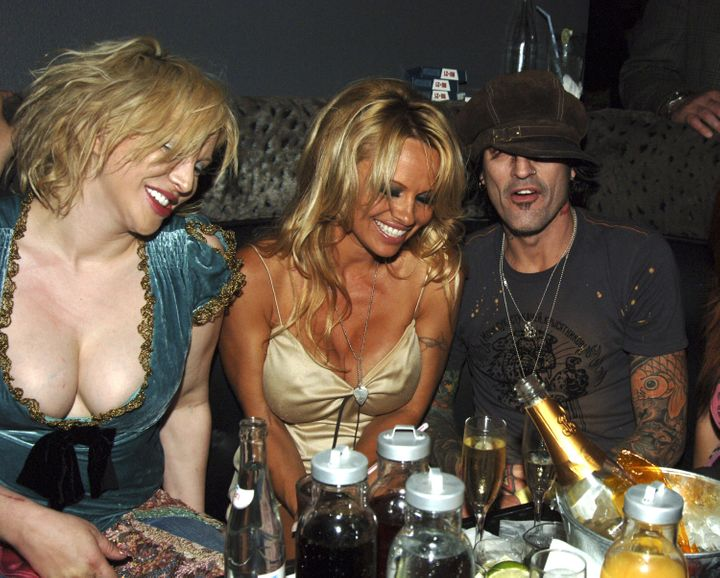 Courtney Love, Pamela Anderson and Tommy Lee pictured together.