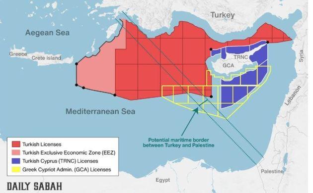 Στον χάρτη που δημοσιεύει η Σαμπάχ, τα πάντα είναι τουρκικά... Η μισή Ανατολική Μεσόγειος βαμμένη σε...