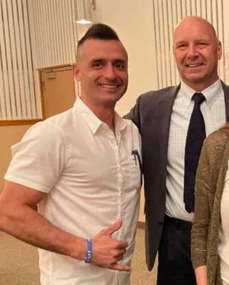 Samuel Lazar, left, poses with Pennsylvania state Sen. Doug Mastriano, right, on May 15.