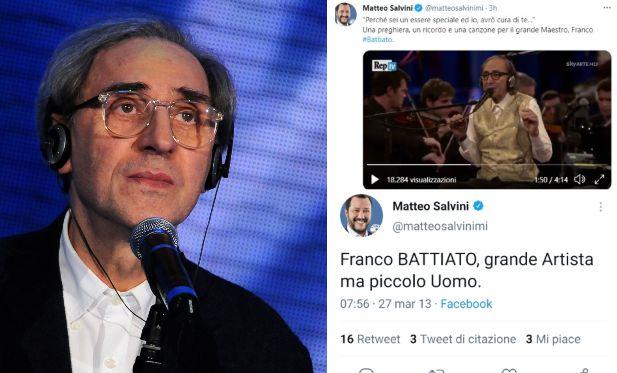 """Da """"piccolo uomo"""" a """"grande Maestro"""": il dietrofront di Salvini su Battiato non sfugge agli utenti"""