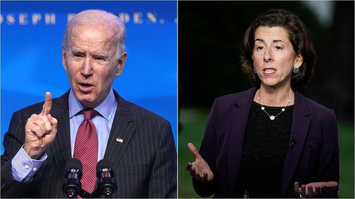 Progressives want President Joe Biden not to side with Commerce Secretary Gina Raimondo, right, who opposes waiving intellect