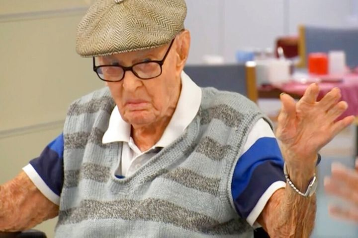Australia's Dexter Kruger gestures at a nursing home in the rural Queensland state town of Roma, Australia on May 13, 2021.