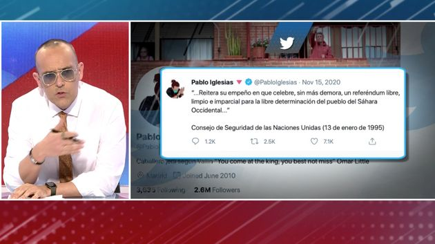 Risto habla a cámara mientras muestra un tuit de 2020 de Pablo