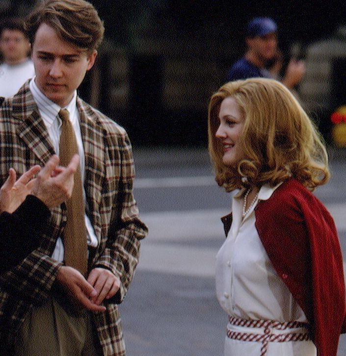 """Drew Barrymore on the set of """"Everyone Says I Love You."""""""