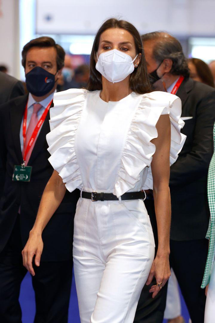 La reina, durante la inauguración de Fitur
