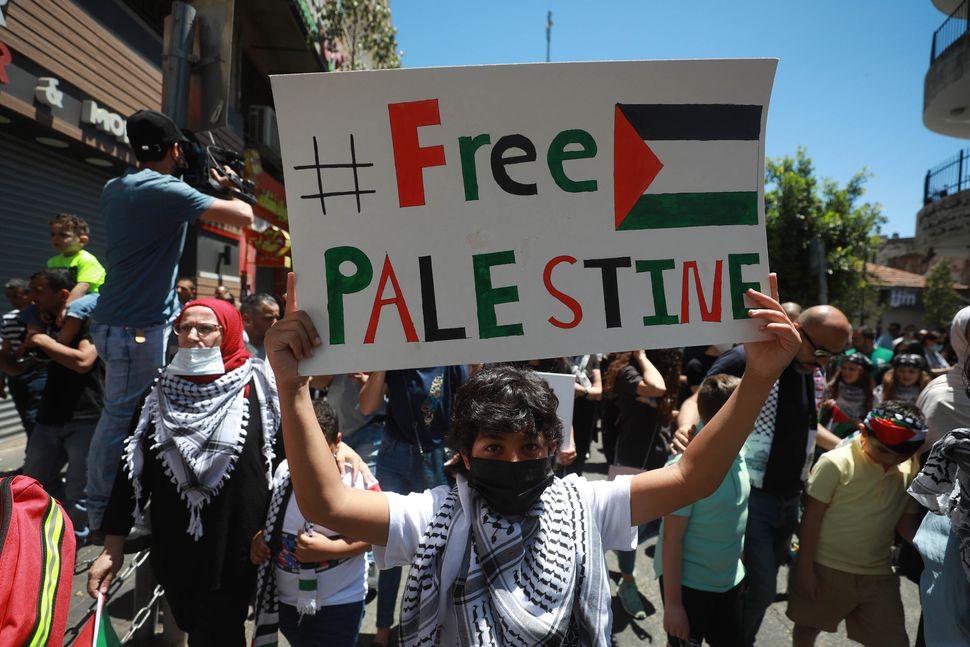 Protesta palestinese aRamallah, in Cisgiordania, 18 maggio