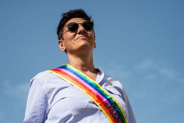 AVELLINO, ITALY - JUNE 15: Imma Battaglia, LGBT activist, during the Avellino Pride 2019 on June 15,...