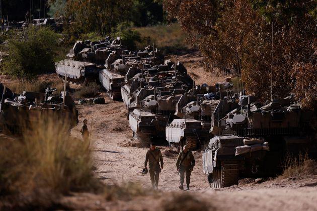 Soldados de Israel, en un puesto cerca de la frontera con Gaza, el pasado 15 de