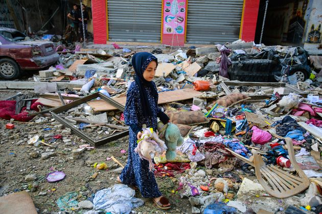 A Palestinian girl in Gaza in the aftermath of an Israeli