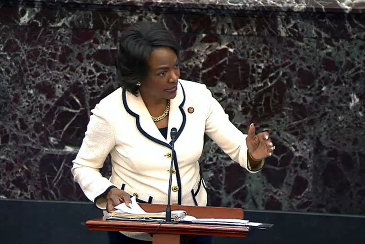 Rep. Val Demings (D-Fla.) speaks during impeachment proceedings against then-President Donald Trump on Jan. 30, 2020. As a fl