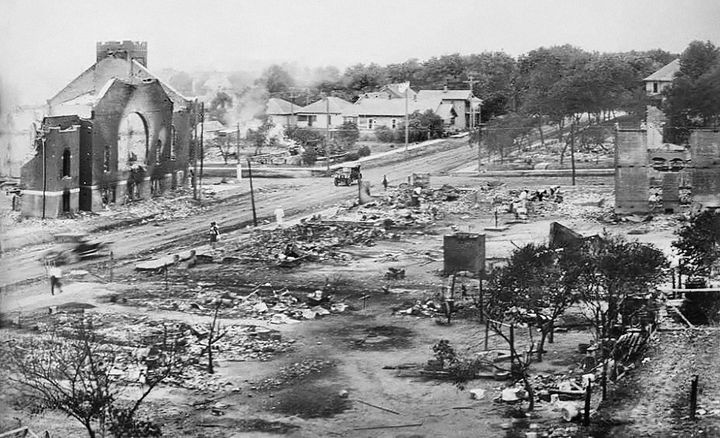 Part of the Greenwood district burned in the Tulsa race massacre, June 1921. Credit: Universal History Archive/Universal Images Group via Getty Images.