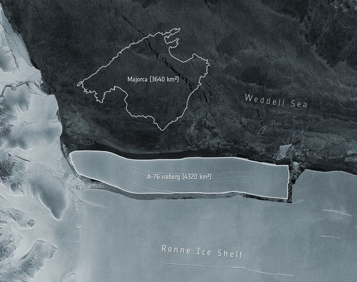 The iceberg A-76 is seen after breaking from the Ronne Ice Shelf. In this image, it is compared to the Spanish island of Majo