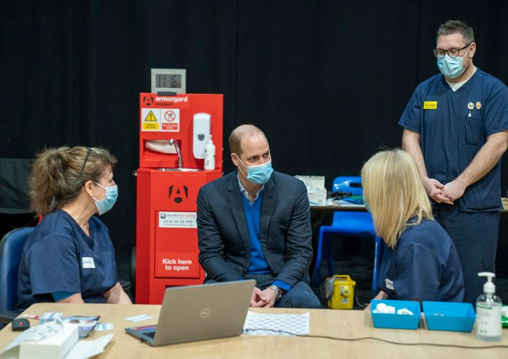 Prince William visits King's Lynn Corn Exchange Vaccination Centre on Feb. 22 in King's Lynn, England. The duke spoke to NHS