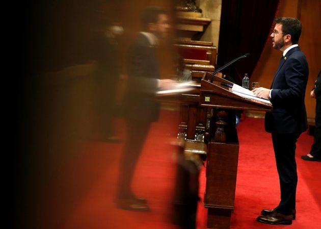 El candidato a la presidencia de la Generalitat de Cataluña, Pere Aragonès, este jueves, en el