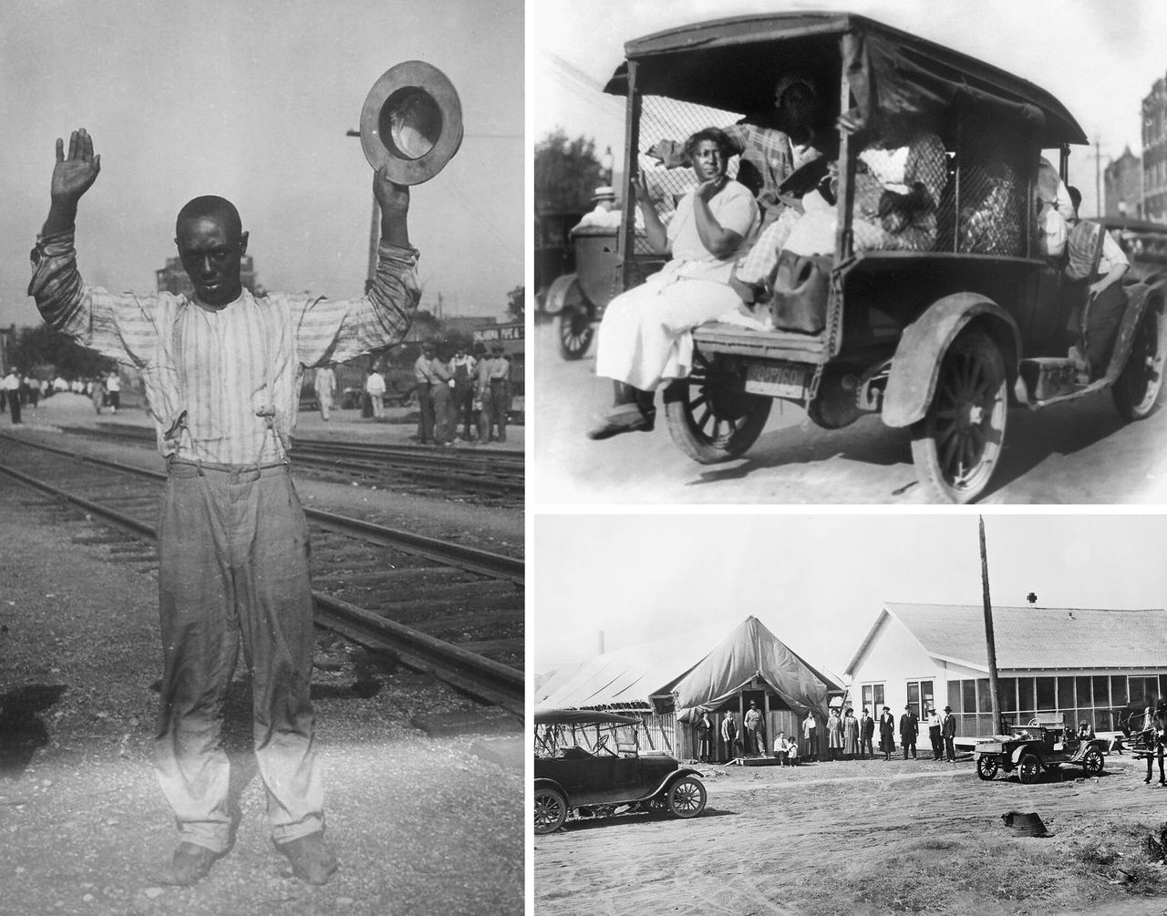 Left: A man with his hands up surrenders during the Tulsa race massacre. Top right: A truck carries African Americans during the massacre. Bottom right: The American Red Cross headquarters and hospital in Tulsa in November 1921. Credit: Getty Images.