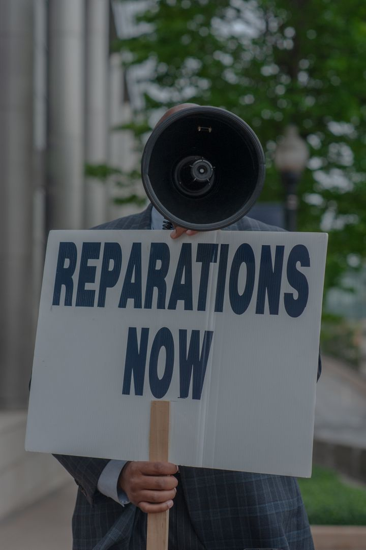 Turner protests for reparations outside of Tulsa City Hall every Wednesday and has been doing so for years.