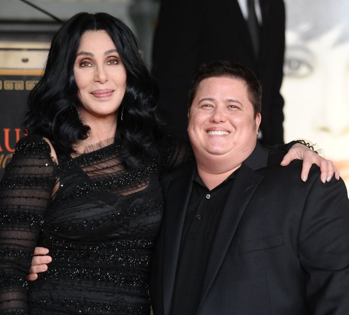 Cher and Chaz Bono at Cher's hand and footprint ceremony at Grauman's Chinese Theatre on Nov. 18, 2010.