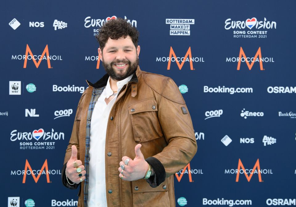James posing for photographers on this year's Eurovision opening night
