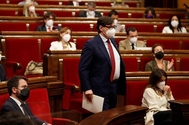 El portavoz del PSC en el Parlament de Cataluña, este jueves, en la Cámara