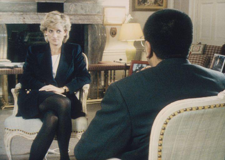 Martin Bashir interviews Princess Diana in Kensington Palace for the BBC.