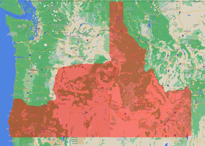 """A map generally depicting """"Greater Idaho"""" shows what the borders would look like if some of Oregon's counties were to join."""