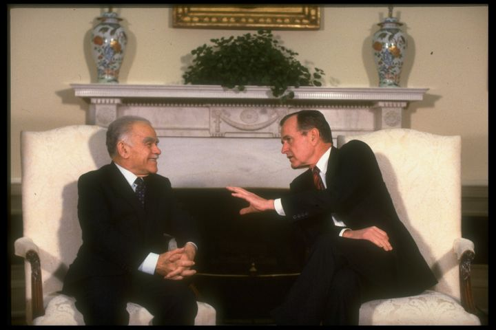 President George H.W. Bush, right, meets with Israeli Prime Minister Yitzhak Shamir in an undated photo. Bush's pressure contributed to Shamir's political defeat in 1992.