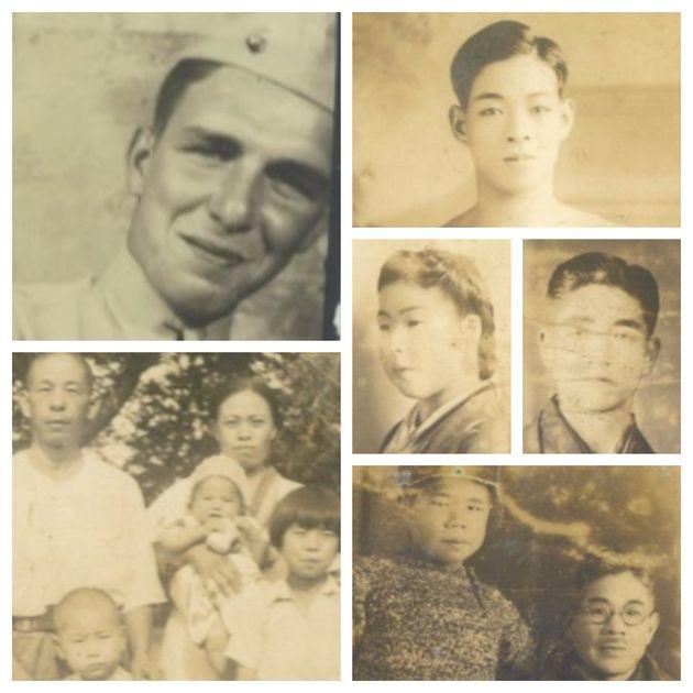 アメリカ兵士ハリー・ダイニンガーさん(左上)と戦地で亡くなった日本兵が持っていた写真