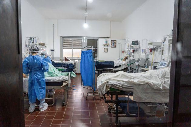 72,6% des lits en soins intensifs sont occupés, comme en témoigne cette photo prise en...