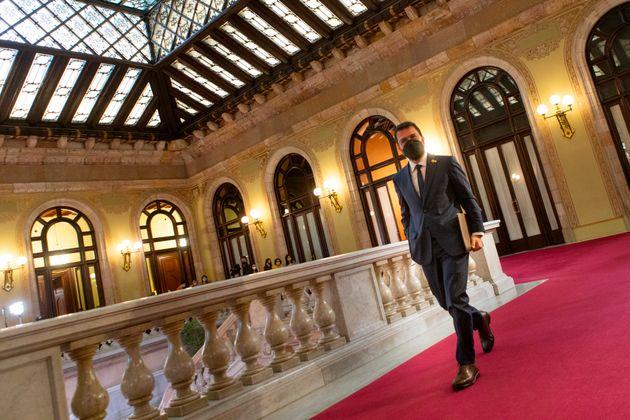Pere Aragonès, candidato de ERC a la presidencia de la Generalitat, este viernes, en el