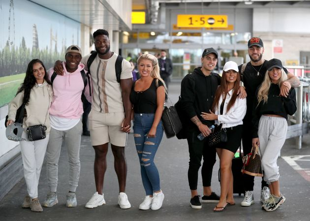 Luke Mabbott and Demi Jones (second couple from right) with the Love Island