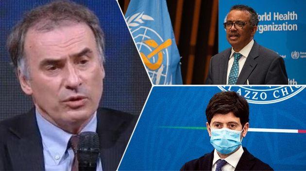 L'inviato Oms Ranieri Guerra, il dg Oms Tedros Ghebreyesus e il ministro della Salute Roberto