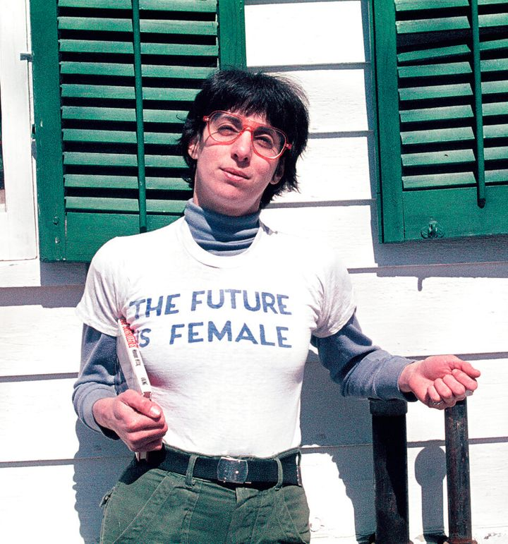 """Alix Dobkin poses in a t-shirt that reads """"The Future is Female"""" in Preston Hollow, N.Y. in 1975. Dobkin, the lesbian singer"""