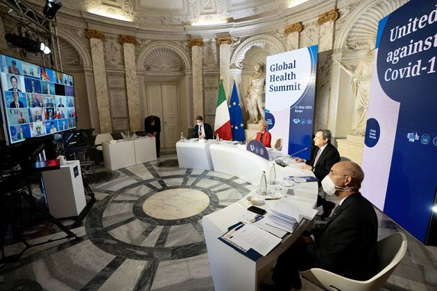 Italian Prime Minister Mario Draghi and European Commission President Ursula von Der Leyen gather for...