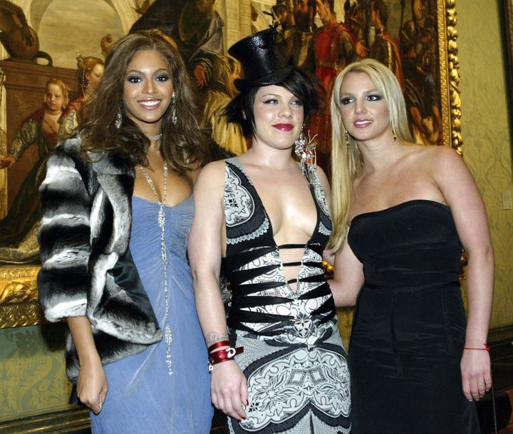 Pink (center) with Beyoncéand Britney Spears in 2003.