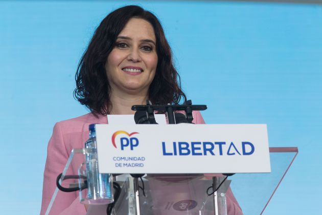 La presidenta de la Comunidad de Madrid, Isabel Díaz Ayuso, en un acto de la campaña