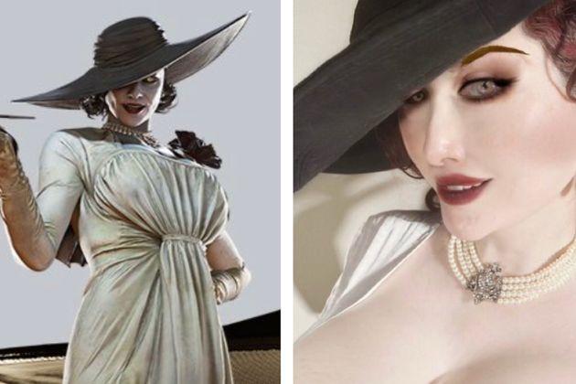 人気ゲーム『バイオハザードヴィレッジ』に登場するキャラクター・オルチーナ・ドミトレスク(左)とそのコスプレをする美香さん(右)。比較してみると、特徴を見事に捉えている