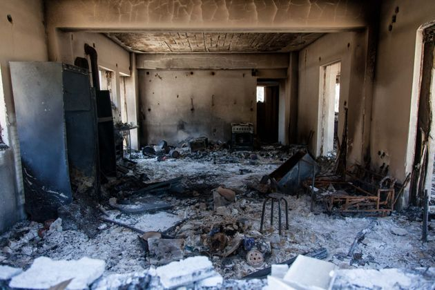 A burnt house in Mavrolimni village in Korinthos area, west of Athens, Greece on May 21, 2021. (Photo...