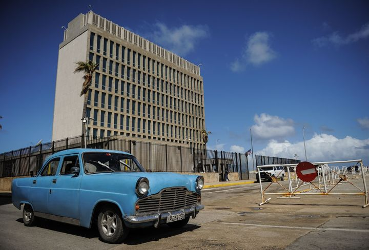 Picture of the US embassy in Havana, taken on October 3, 2017. (Photo credit should read YAMIL LAGE/AFP via Getty Images)