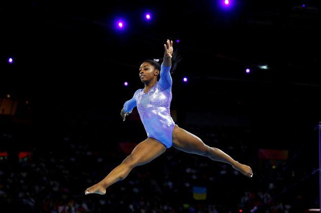 Simone BIles lors des championnat du monde de gymnastique artistique en